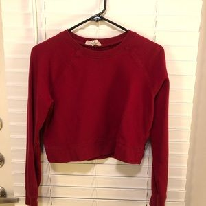Forever 21 Red Cropped Sweatshirt size MEDIUM